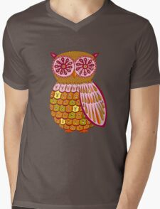 Retro Owl Shirt Mens V-Neck T-Shirt