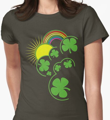 Rainbow, Clovers and Sun Womens Fitted T-Shirt
