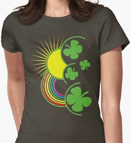 Rainbow, Sun and Clovers Womens Fitted T-Shirt