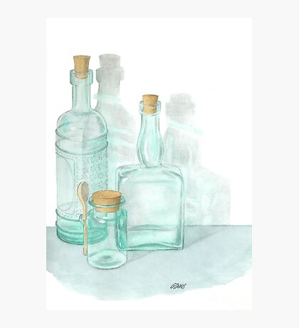 THE GLASS OF GLASSWARE - PENCIL AND WATERCOLOR Photographic Print
