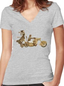 Steam Punk T-shirt - Bonnie and Clyde Women's Fitted V-Neck T-Shirt