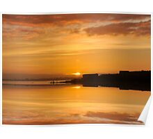 Reflective Sunrise over the River Tagus , Lisbon , Portugal Poster