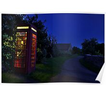 Cotswolds phone box at night Poster