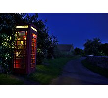Cotswolds phone box at night Photographic Print