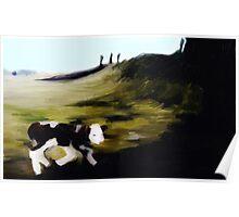 New born calf on Penshaw hill Poster