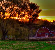 Red Barn at Sunset by Monica M. Scanlan