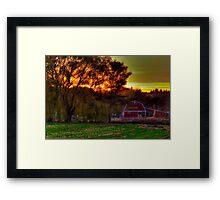 Red Barn at Sunset Framed Print