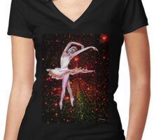 Cosmic Dancer, ballerina and stars in the night sky  Women's Fitted V-Neck T-Shirt