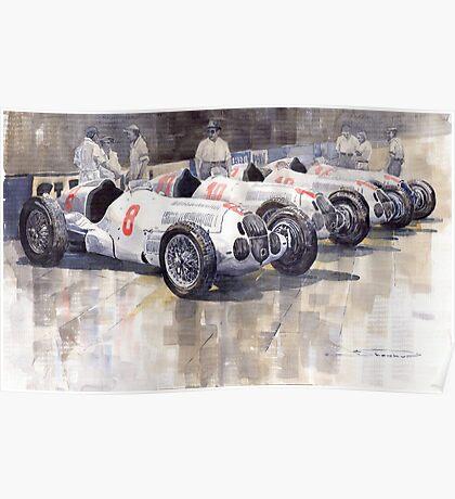 1937 Monaco GP Team Mercedes Benz W125 Poster