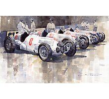 1937 Monaco GP Team Mercedes Benz W125 Photographic Print