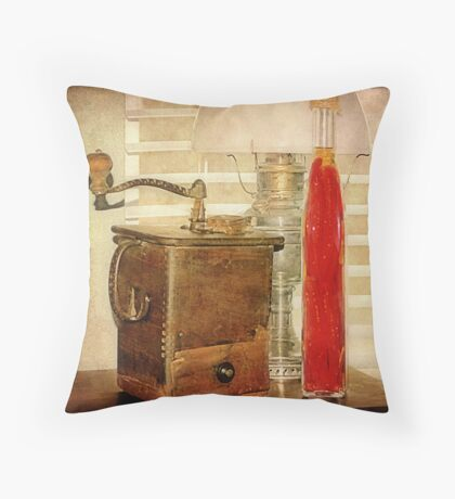 The Oil Lamp and The Coffee Grinder Still Life Throw Pillow