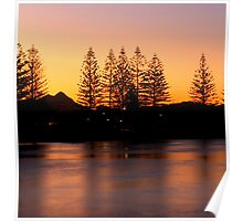 brunswick river at sunset Poster