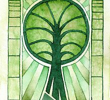 Green Tree Symbol - watercolours by Gee Massam