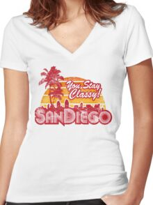 You Stay Classy! San Diego (Worn look) Women's Fitted V-Neck T-Shirt