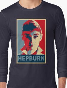 Audrey Hepburn Classic White Shirt Portrait Campaign  Long Sleeve T-Shirt