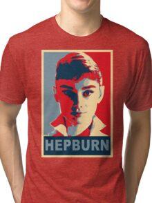 Audrey Hepburn Classic White Shirt Portrait Campaign  Tri-blend T-Shirt