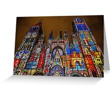 France. Normandy. Rouen. Cathedral. Light and Sound Show. Greeting Card