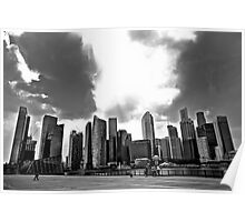 Singapore - Angry Skies Over Skyline Poster