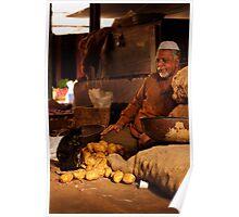 Potato Seller & Cat Poster