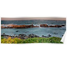 Sunset, rocks and wild weather. Poster