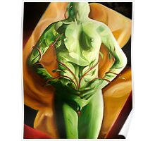 """Vientre"" - oil painting of a female figure and floral image combined Poster"