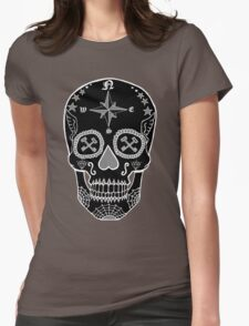 Logistic Specialist - Day of the Dead Skull Black and White Negative Womens Fitted T-Shirt
