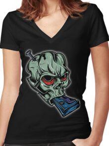 Skull & Cassette Women's Fitted V-Neck T-Shirt