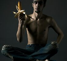 Portrait of young man with corn cob by Evgeniy Lankin