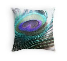 glowing peacock feather Throw Pillow