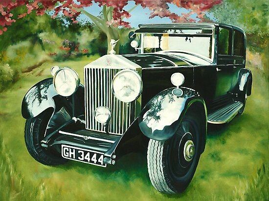 """Rolls Royce Phantom"" - oil painting of a Rolls Royce by James  Knowles"