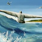 """Catching in a Wave"" oil painting of pelicans  by James  Knowles"