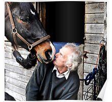 Farrier & horse heated conversation Poster