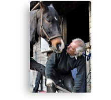 Farrier and horse dialogue Canvas Print