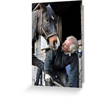 Farrier and horse dialogue Greeting Card