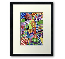 COLORS AND CHAPES WITH BIRDS - BRUSH AND GOUACHE Framed Print