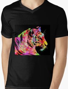 Abstract tiger with lots of colour Mens V-Neck T-Shirt