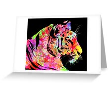 Abstract tiger with lots of colour Greeting Card