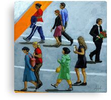 The Exception - figurative city oil painting Canvas Print