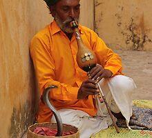 Snake charmer, Amber, Jaipur by Christopher Cullen
