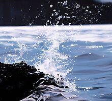 """Splash"" - oil painting of a splashing wave by James  Knowles"