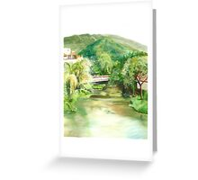"""""""Mouth of the Cuale"""" - oil painting of a river in Mexico Greeting Card"""