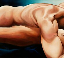 """Bodyscape Uno"" - oil painting of intertwined figures by James  Knowles"