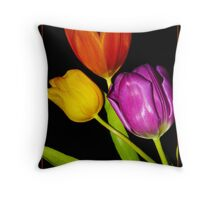 Tulips on Black Throw Pillow