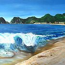 """""""Playa Melaque"""" - oil painting of a Mexican beach by James  Knowles"""