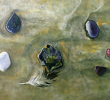 """Six Pebbles and a Feather"" - oil painting of section of beach in Mexico by James  Knowles"