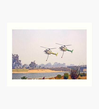Helitankers Approaching Champion Lakes  Art Print