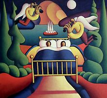 Couple in bed in landscape by Alan Kenny