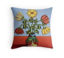 Flowers in softvase with landscape Throw Pillow