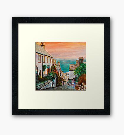 Clovelly, famous fishing village, Devon - UK Framed Print