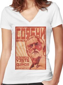 Corbyn Brings Beards, Vest and Quinoa Women's Fitted V-Neck T-Shirt